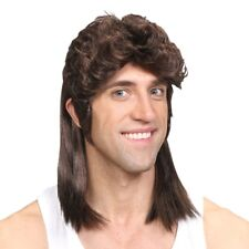 Adult Brown Mullet Hillbilly Fancy Dress Wig Soft Rock Heavy Metal 70s 80s New