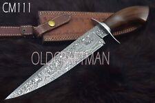 "15.5"" Custom Handmade Damascus Steel Hunting Bowie Knife Rose Wood Handle CM111"
