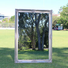Large Wooden Mirror Silver Colour with Bevelled Antique Frame 113 X 80CM
