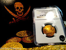 SPAIN 1 ESCUDO 1516 - 1556 SQ D TO LEFT GOLD COB DOUBLOON NGC 35 COIN! TREASURE