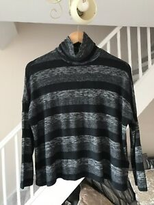 SPARKLE AND FACE  LADIES BLACK STRIPED JUMPER SIZE SMALL