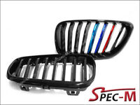 OE Look Jet Black w/ Metal M Tri Front Grille For 14-18 220i M235i M240i F22 BMW