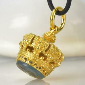 Gold Vermeil Sterling Silver Chalcedony Fob Seal Stamp Crown Pendant 11.77 g
