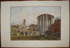 Stampa antica old print Benoist Roma Tempio Vesta Cosmedin Ercole vincitore 1870