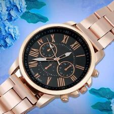 Luxury Womens Fashion Stainless Steel Quartz  3 Dial Date Analog Watch Black TQ