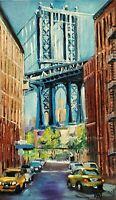 YARY DLUHOS ORIGINAL OIL PAINTING New York City Dumbo Brooklyn Manhattan Bridge