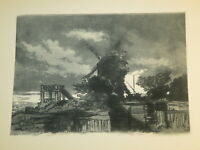 Louis MORIN (1855-1938) EAU FORTE ORIGINALE MONTMARTRE PARIS CLAIR OBSCUR 1900