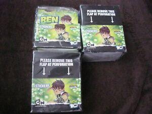 3 X MERLIN CARTOON NETWORK BEN 10 FULL BOX OF 50 SEALED STICKERS (GREEN)