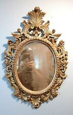 Vintage carved Italian wood frame mirror, looking glass distressed gold