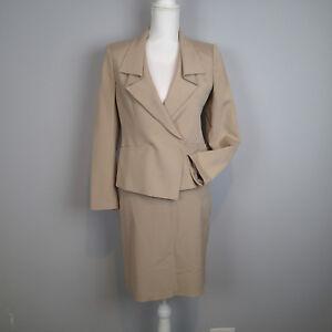 ann taylor 2PC,BLAZER,SUIT,Jacket SZ 0p/4p  skirt silk cotton blend beige  e3