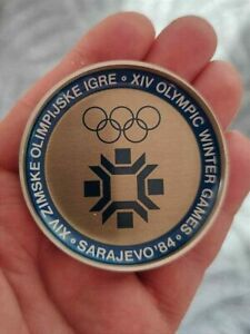 🔴OLYMPIC  XIV WINTER GAMES  SARAJEVO 1984 - SMALL PLATE WITH OFFICIAL LOGO🔴
