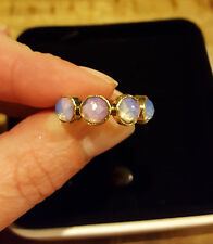 OPALITE HANDMADE  5 GEMSTONE SILVER RING SIZE 7.5 GOLD AROUND THE STONE