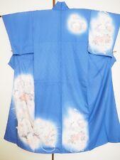 Vintage Japanese Silk Kimono Dress Robe Tsukesage, Bird, Ume, Peony, Blue K948