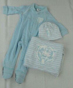 Chicago Bears NFL Outerstuff Infant 3 Piece Blanket Set