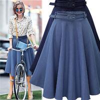 Womens Summer High Waisted Skater Full Circle Pleated A-Line Mini Midi Skirt