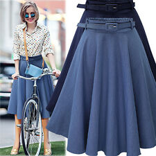 Womens Summer High Waisted Skater Full Circle Pleated A-Line Mini Midi Skirt