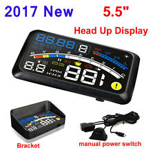 "ASH-4E 5.5"" Universal OBD2 Car GPS HUD Head Up Speed Display Overspeed Warning"