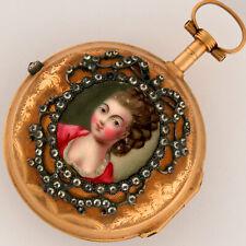 Joby Paris 18K Gold French Verge Fusee Enamel Diamond Filigree Pocket Watch 36mm