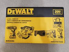 New DEWALT 20V Cordless Li-Ion 4 Tool DCD780 DCS393 DCS381 DCL040 Kit - DCK423D2