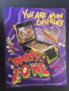 RARE VINTAGE ARCADE PINBALL MACHINE  FLYER – PARTY ZONE – GAME, USA, BALLY, 1991