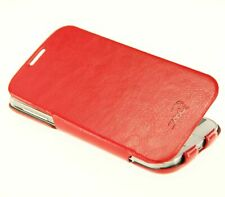 Croco® Samsung Galaxy S4 Leather-Feel Ultra Thin Flip Case / Stand - Red