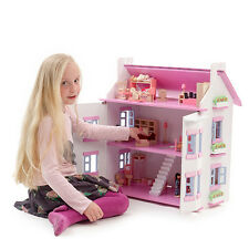 New Mamakiddies White / Pink Wooden House Dollhouse + 40+ Furnitures & 4 Dolls
