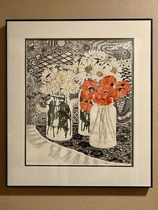 Vintage Yvonne Davis Hand Colored Lithograph, PNW, 1979, New Purchase Old Jars