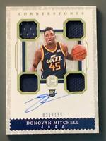 2017-18 Panini Cornerstones Donovan Mitchell Rookie Patch Auto /199 Utah Jazz