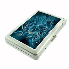 "Metal 100's Cigarette Case with Built In Lighter Dragon D4 Medieval 4.75"" x 2.75"