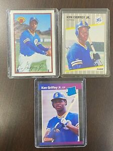 KEN GRIFFEY JR. ROOKIE CARDS Three (3) Card Lot NICE!!! Donruss, Fleer & Bowman!