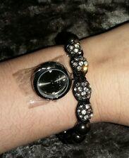 Superbe Femmes Brillant Shamballa Bracelet Style Black Watch. Neuf New