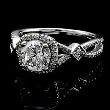 Halo Pave 1.28 Carat VS2/H Round Diamond Engagement Solitaire Ring White Gold