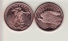 ST. GAUDENS   TY-2   $20 Gold 1 oz. Copper Round Coin