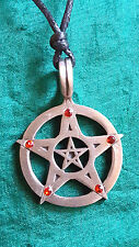 Pentacle Pendant Red CZ Star Pewter Pendant Thong Cord Necklace