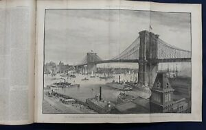 Harper's Weekly Newspaper Magazine Bound Volume 1883 Brooklyn Bridge Mardi Gras