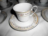 Kentfield & Sawyer Fine Porcelain China Cups and Saucers Floral Edge (12 Sets)