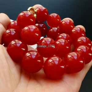 """Natuarl 12mm 14mm Red Jade Round Beads Gemstones Knotted Necklace 18"""""""