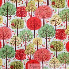 BonEful Fabric Cotton Quilt Green Red White Orange Tree Leaf Fox Owl LAST SCRAP