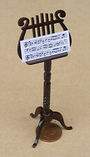 1:12 Scale Ornate Wooden Music Stand Dolls House Miniature Instrument Accessory
