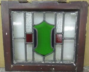 """OLD ENGLISH LEADED STAINED GLASS WINDOW Pretty Cute Shield Design 15.75"""" x 13.5"""""""