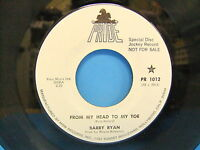 Barry Ryan From My Head To My Toe / Alimony Honey Blues 1972 Promo 45 Pride 1012