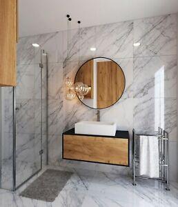 £20.89/m2 White Marble Effect High Gloss Porcelain Tile 60x60 Wall-Floor SAMPLE
