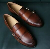 Handmade Brown double monk strap cowhide leather shoe for men Loafers-ALL SIZE