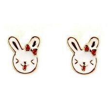 CUTE HAPPY BUNNY EARRINGS Rabbit Gold Plate Enamel NEW Kids Girls Pair Post Stud