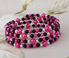 Hot Pink black Silver Faux Pearls Memory Wire Bracelet Cuff Handmade Weddings
