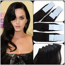Weich Tape in Menschliches Haar Haarverlängerung Echthaar Extensions 45 55cm dsr