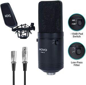 Movo VSM-5 Large Diaphragm XLR Studio Cardioid Condenser Microphone