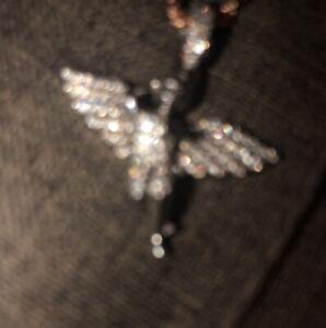 14k white gold VVS Icebox angel pendant