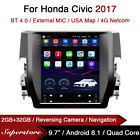 """9.7"""" Tesla Style Android Car Stereo GPS For Honda Civic 2017"""