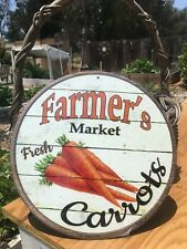 Farmers Market Fresh Carrots Round Sign Tin Vintage Garage Bar Decor Old Rustic